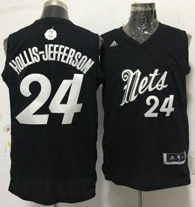 56f30cc258b9 Nets  24 Rondae Hollis-Jefferson Black 2016-2017 Christmas Day Stitched NBA  Jersey